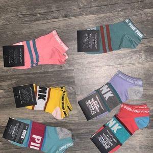 Pink Victoria secret socks logo low cut NWT 6 pair